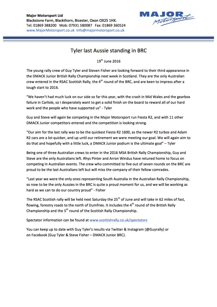 Tyler & Fisher Scottish Press Release